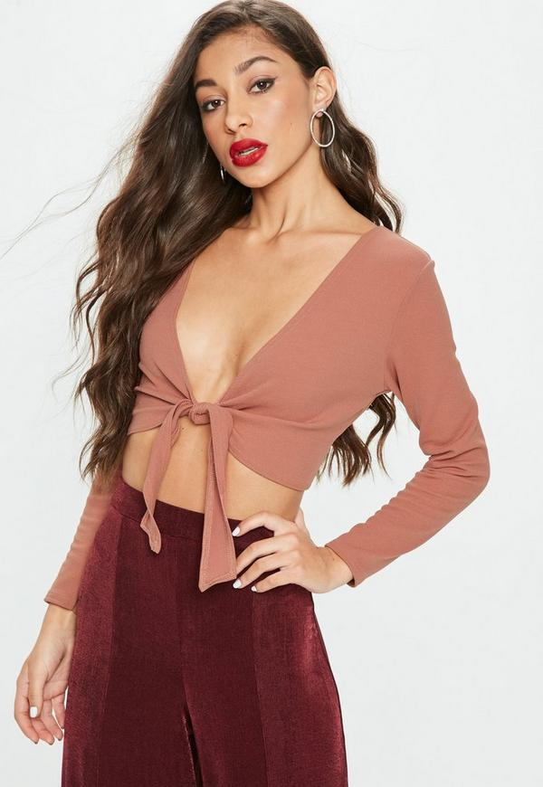 Petite rose long sleeve tie front crop top