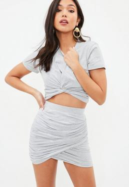 Petite Gray Tie Front Cropped T-Shirt