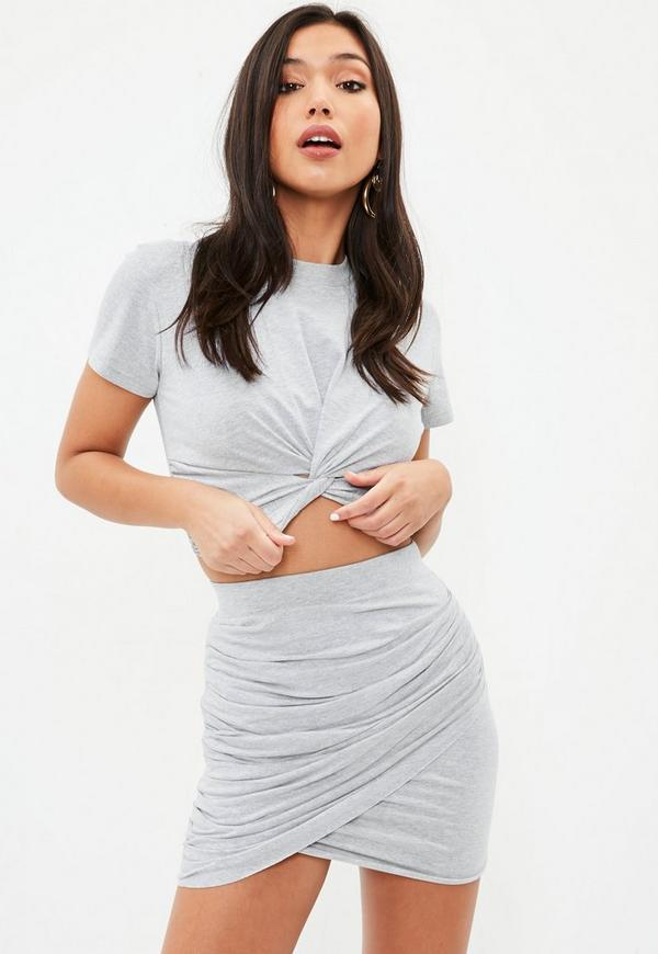 Petite gray gathered mini skirt