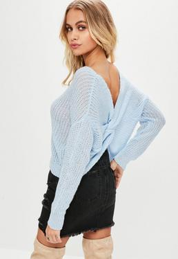 Petite Blue Fluffy Yarn Twist Back sweater