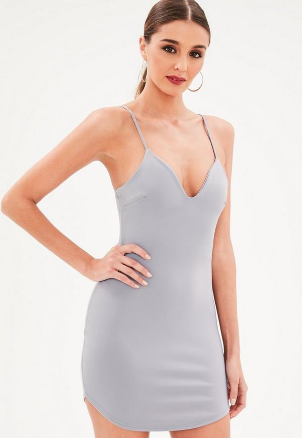 Petite gray strappy plunge bodycon dress