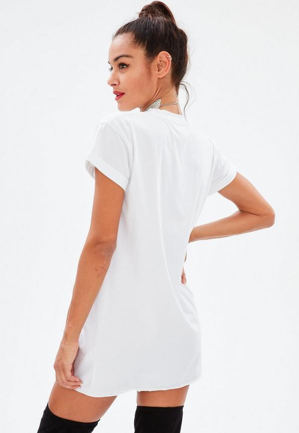 Petite White Washed T Shirt Dress Missguided