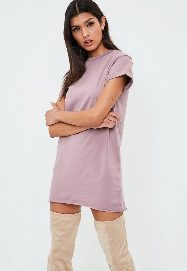 Petite Purple Washed T Shirt Dress by Missguided