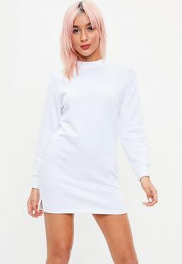Vestido sudadera petite de manga larga en blanco