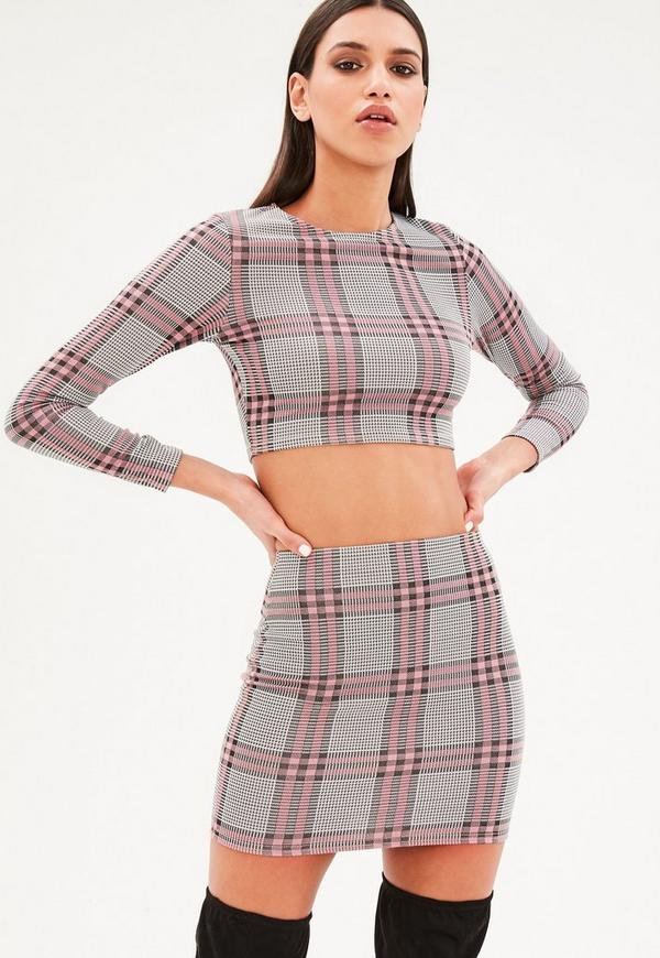 Petite pink plaid long cleeve top