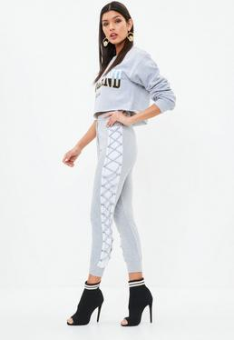 Petite Grey Lace Up Side Joggers