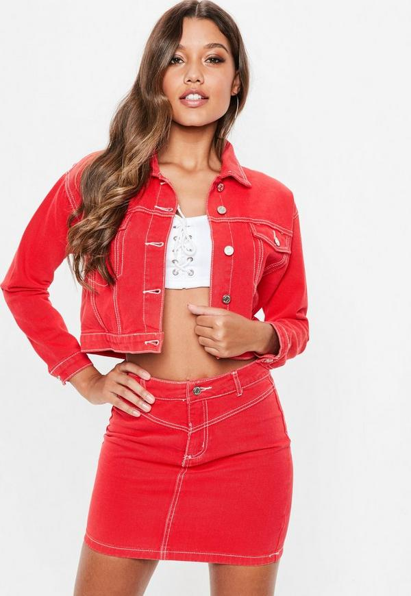 Petite red contrast stitch cropped denim jacket