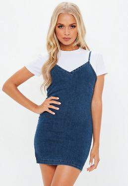 Petite Blue Denim Slip Dress