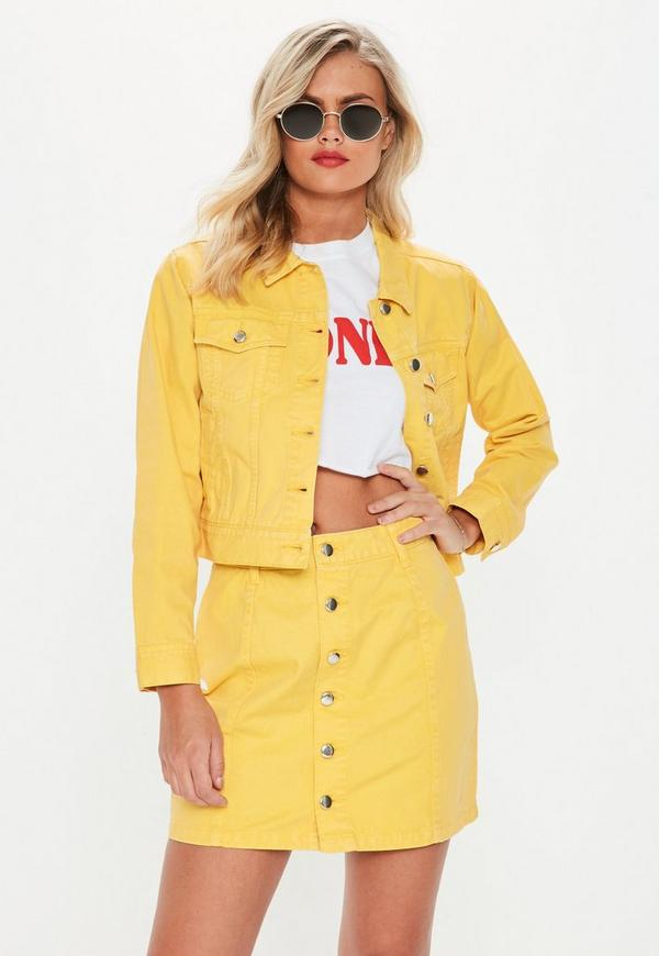 Petite Yellow A Line Button Through Denim Skirt by Missguided