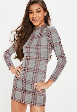 Petite Pink Plaid High Neck Dress