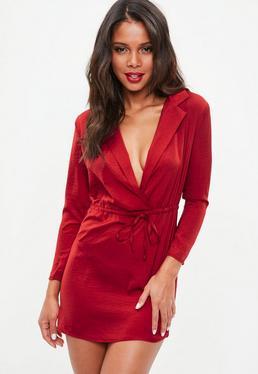 Petite Red Hammer Satin Tie Waist Dress