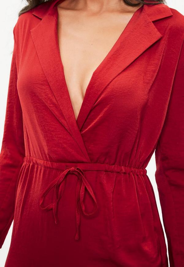 robe rouge en satin petite missguided. Black Bedroom Furniture Sets. Home Design Ideas