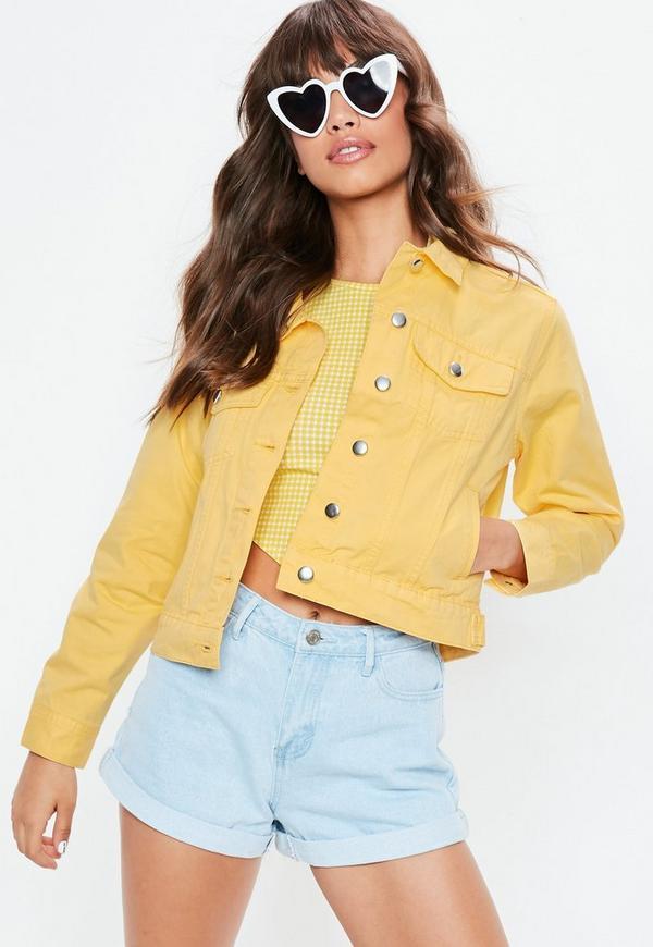 Petite yellow denim jacket