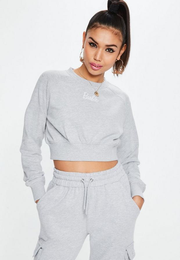 barbie x missguided petite gray cropped sweatshirt