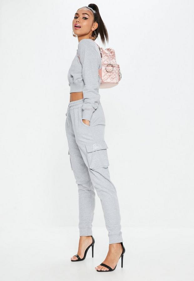 barbie x missguided petite gray drawstring utility joggers