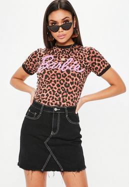 Barbie x Missguided Petite Brązowy krótki top w panterkę