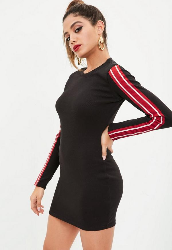 Petite black sports ribbed dress