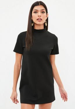 Petite Black Scuba High Neck Dress