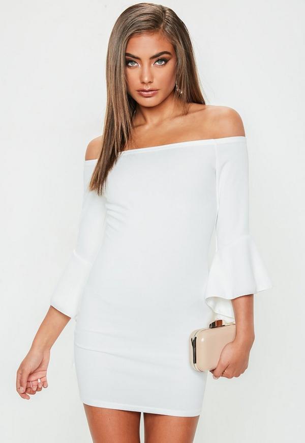 Petite White Bardot Frill Sundress