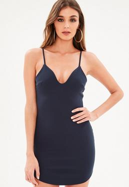 Petite Navy Strappy Plunge Bodycon Dress