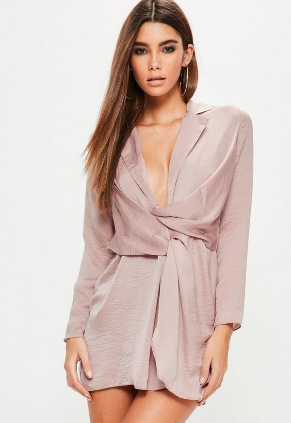 Petite Pink Hammered Satin Wrap Plunge Dress