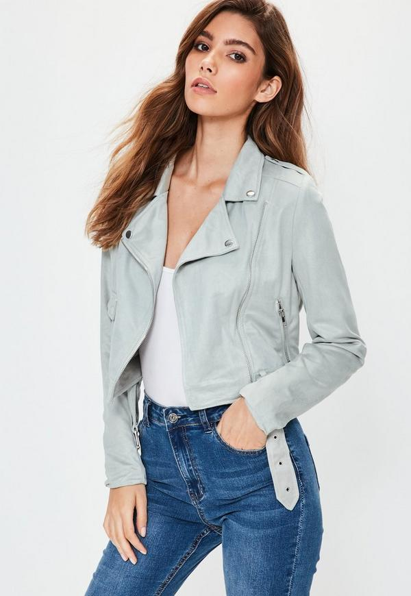 Petite faux suede biker jacket gray