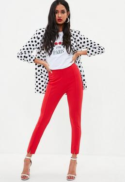 Petite Red Skinny Fit Cigarette Trousers