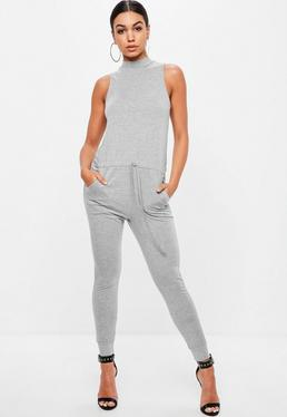 Petite Gray High Neck Jersey Jumpsuit