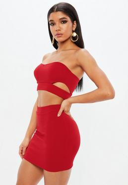 Petite Red Bandeau Crop Top