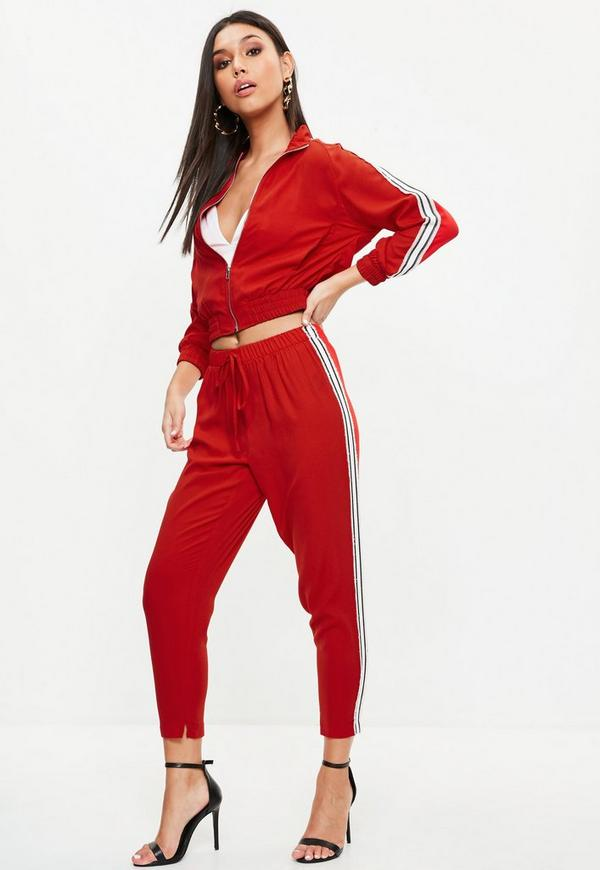 Petite red sports side stripe joggers