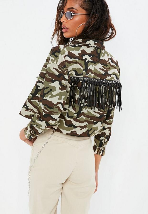 petite brown camo fringe detail cropped jacket