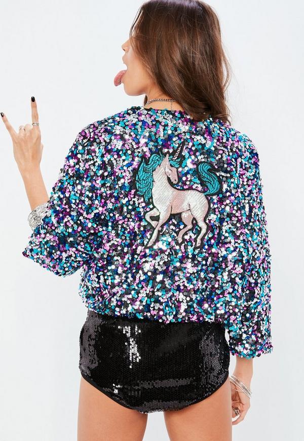 Petite blue sequin unicorn embroidered jacket