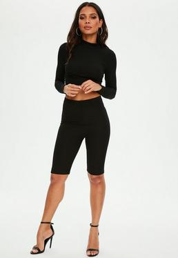 Petite Black Ribbed Cycling Shorts