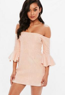 Petite Pink Lace Scuba Bardot Dress