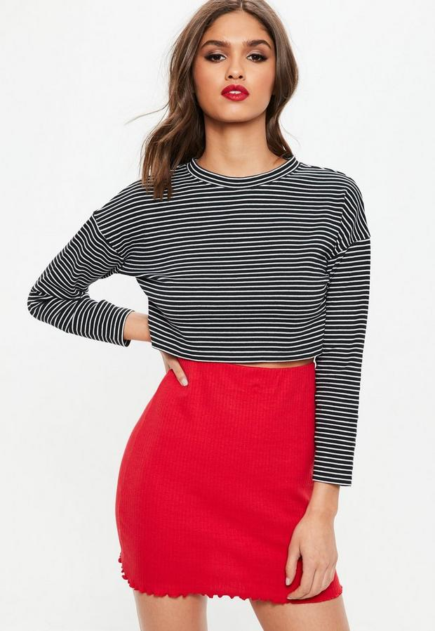 petite black stripe drop shoulder sweatshirt