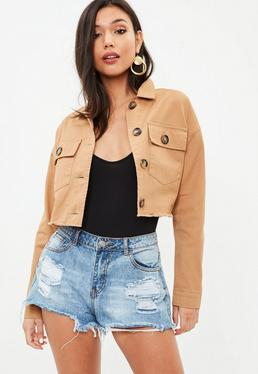Petite Brown Cropped Trucker Jacket