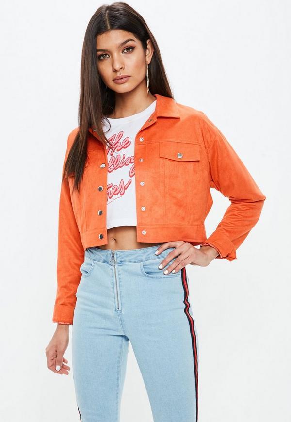 Petite orange suedette trucker jacket