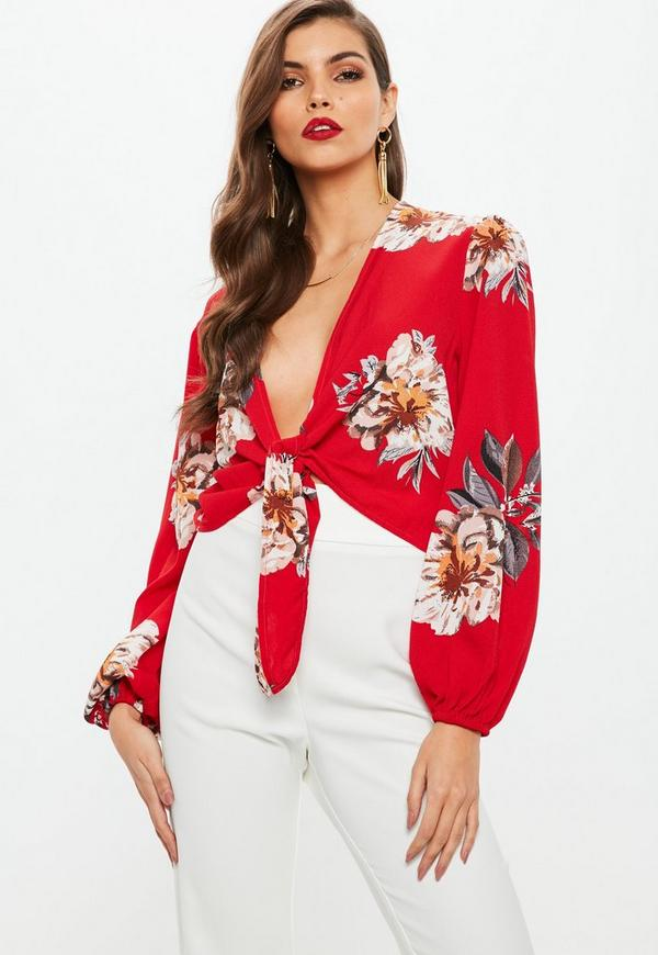 Petite Red Floral Print Tie Front Top