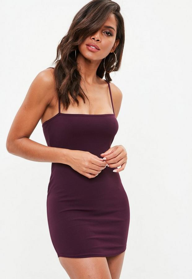petite burgundy bandeau strappy crepe dress
