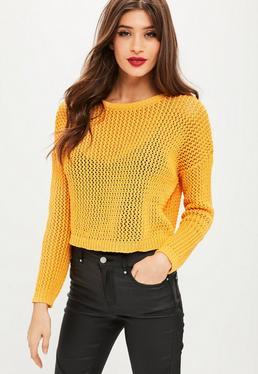 Petite Mustard Open Weave Sweater