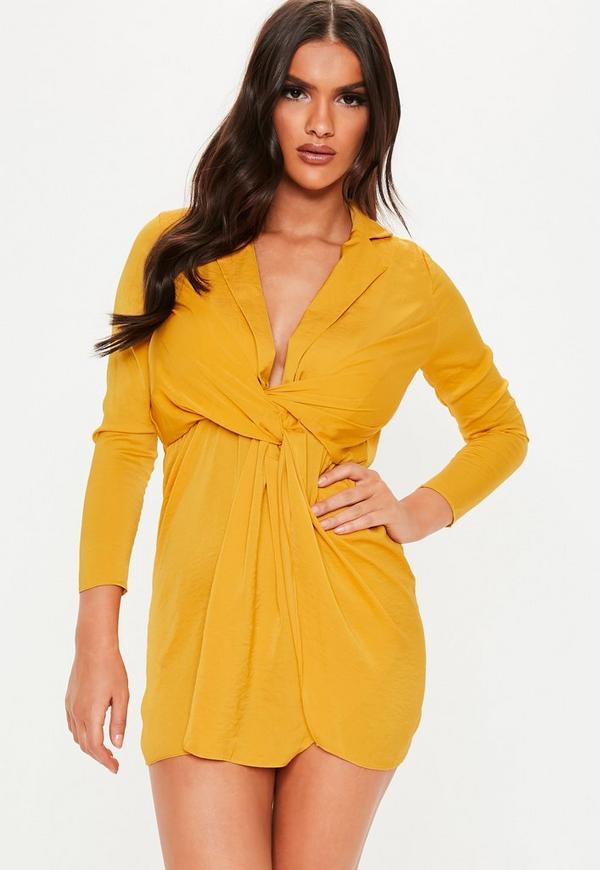 Petite Mustard Satin Wrap Plunge Dress