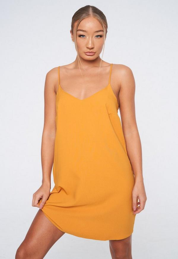 Petite Mustard Yellow Slip Dress