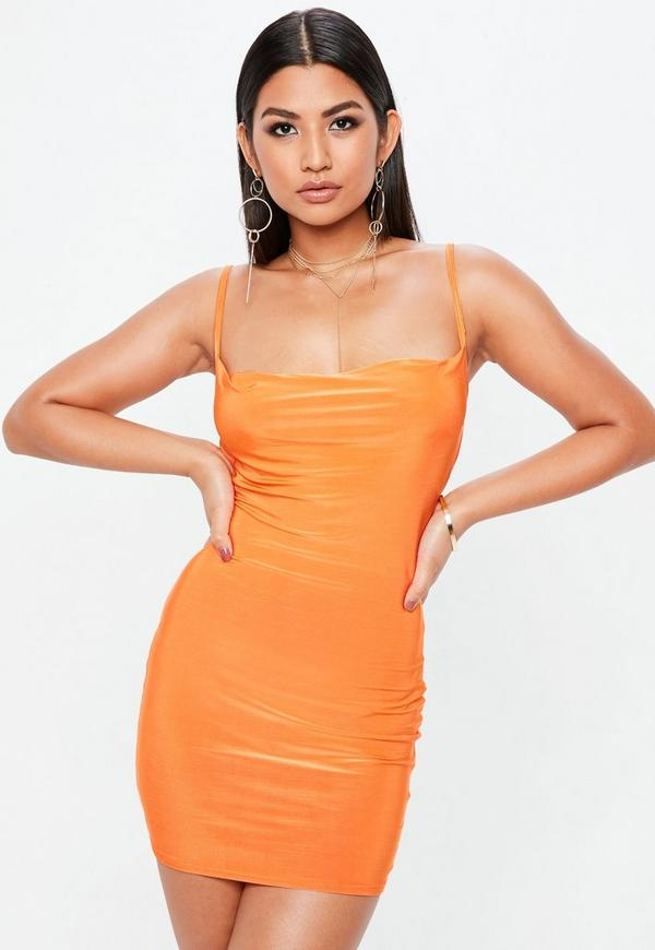 Petite Orange Slinky Cowl Dress