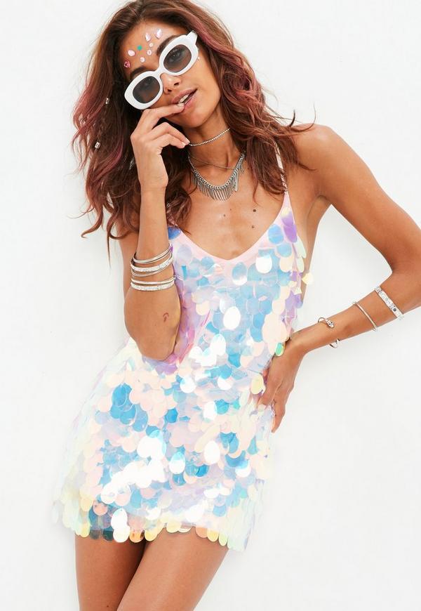 Petite Pink Sequin Slip Dress