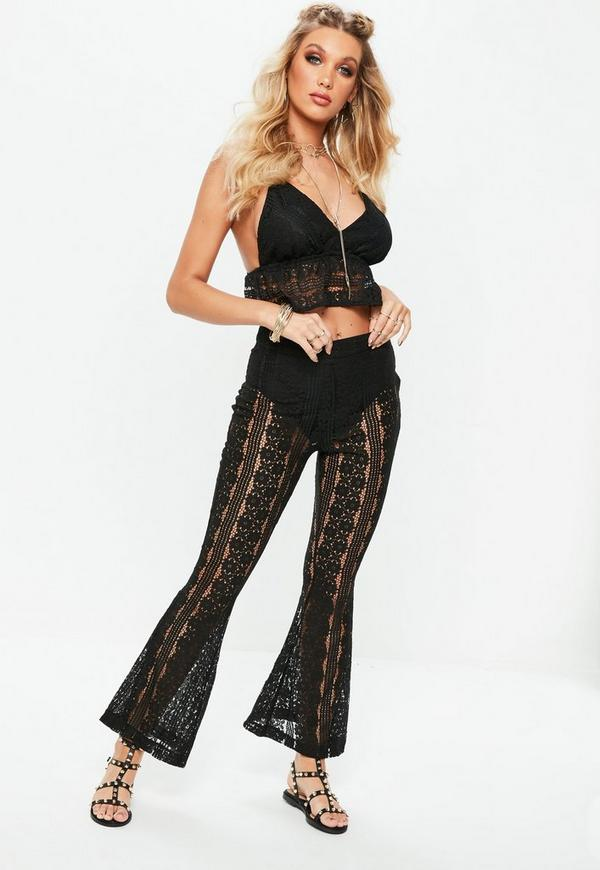 Petite black lace flared pants