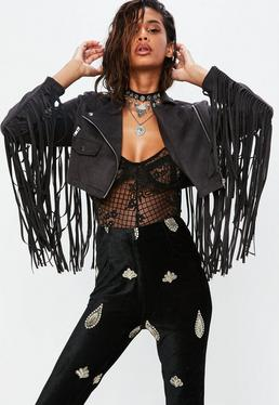 Petite Black Faux Suede Fringed Cropped Jacket