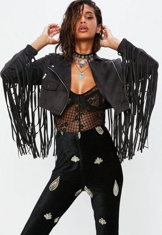 petite black faux suede fringed cropped jacket