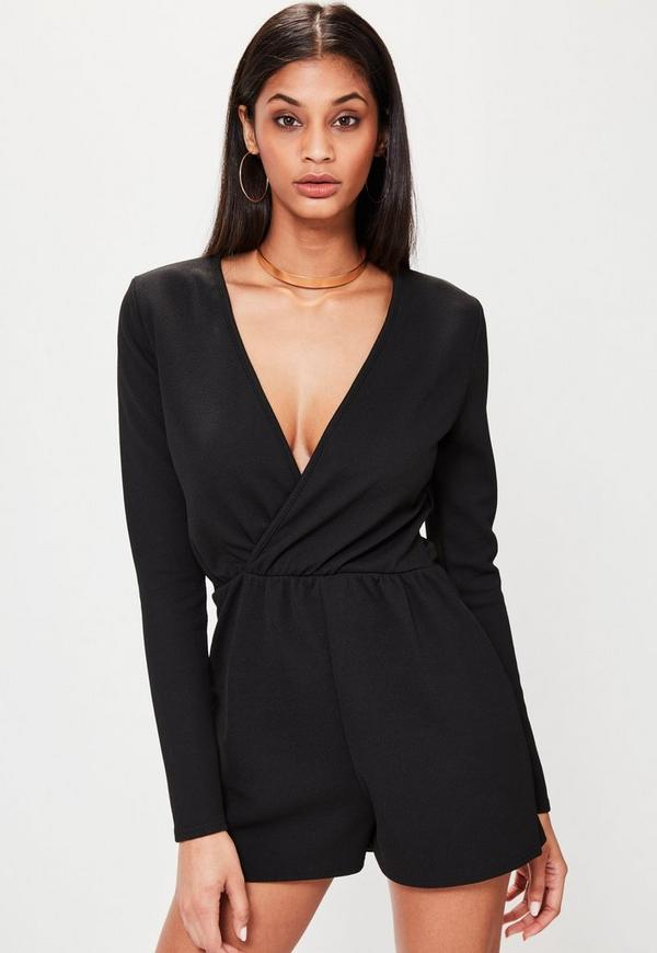 Petite black crepe long sleeve wrap romper