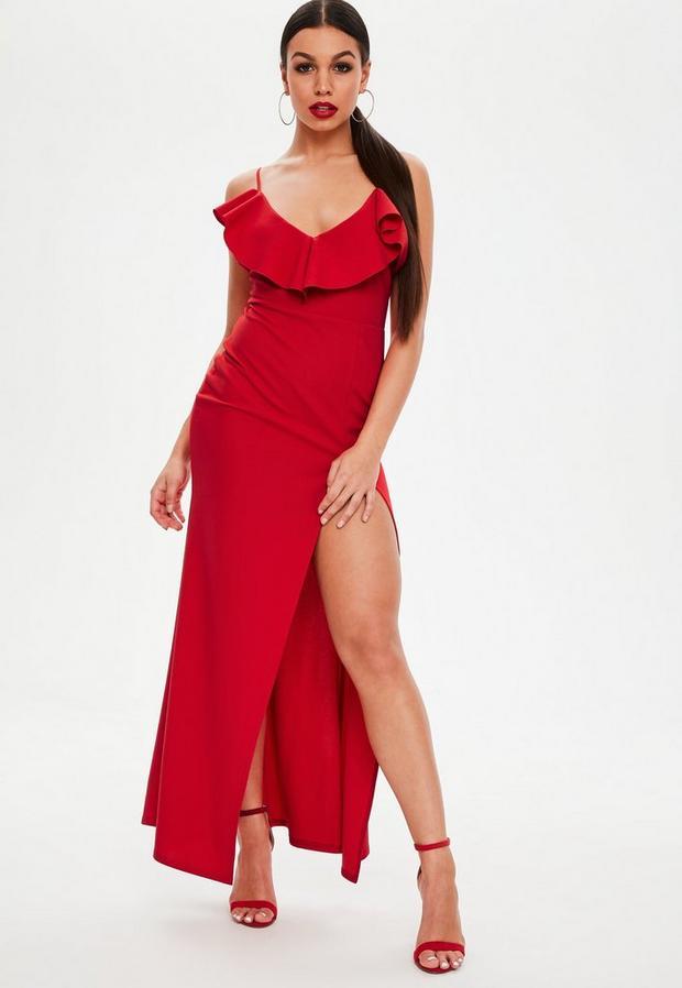 petite red frill maxi dress