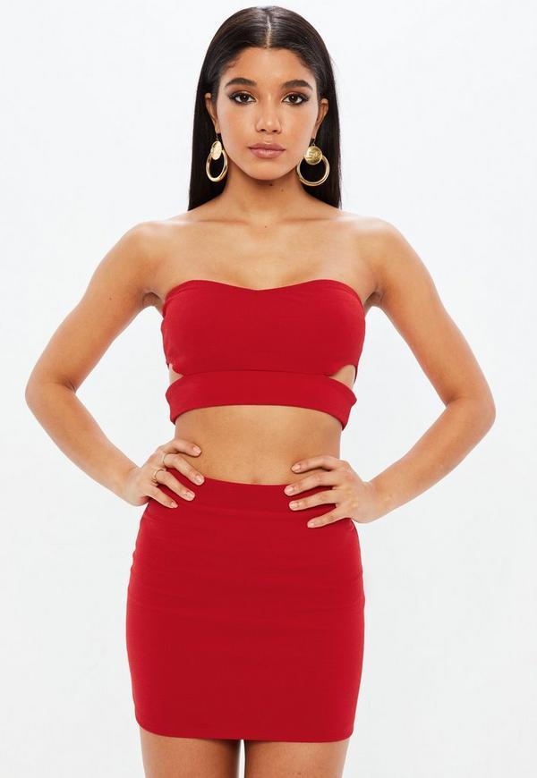 Petite red co ord mini skirt